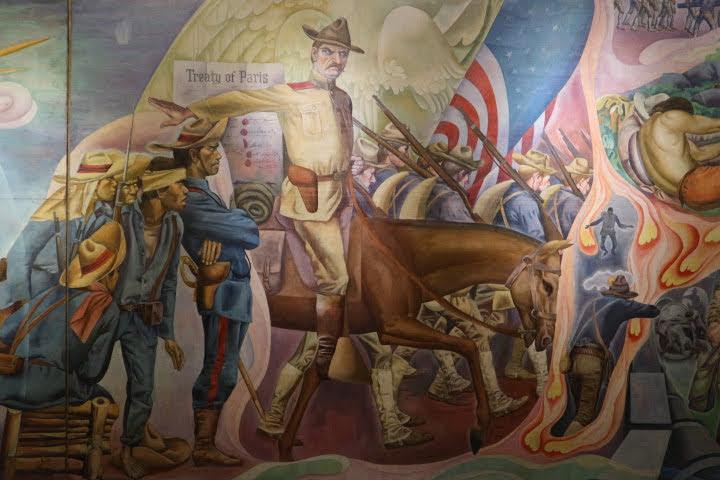 上院セッションホール壁画アメリカ植民地化