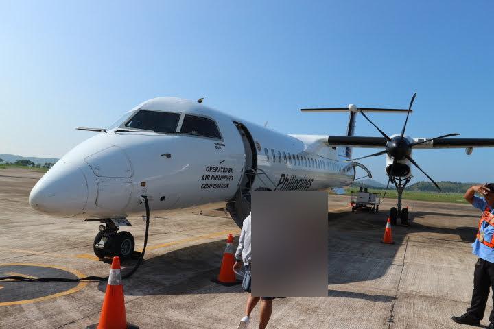 コロン空港フィリピン航空ボンバルディア機